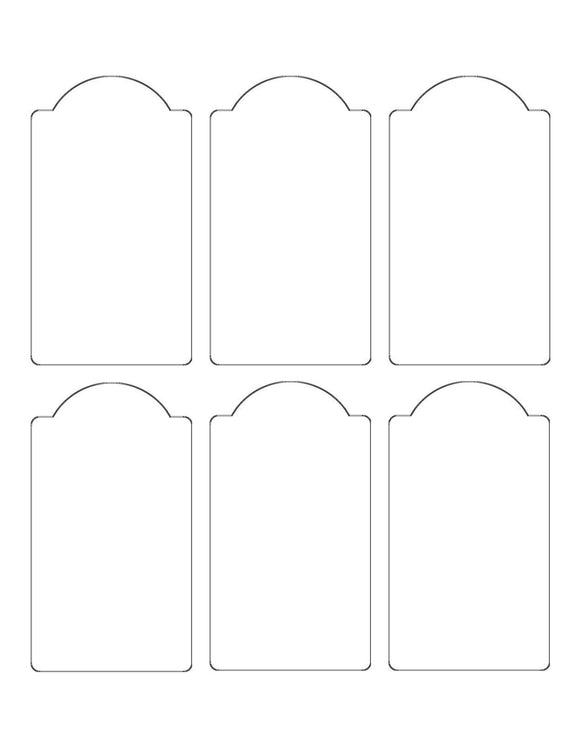 2.375 x 4.25 Dome Top Rectangle Hang Tag Sheet (Die-Cut White Cardstock)