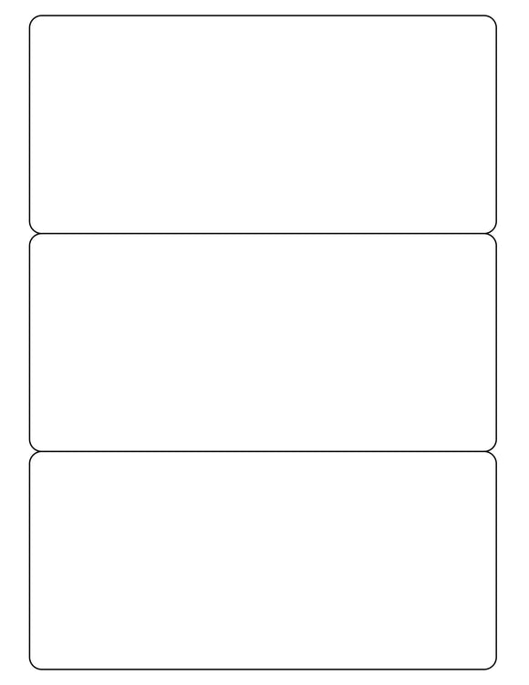 7 1/2 x 3 1/2 Rectangle White Printed Label Sheet