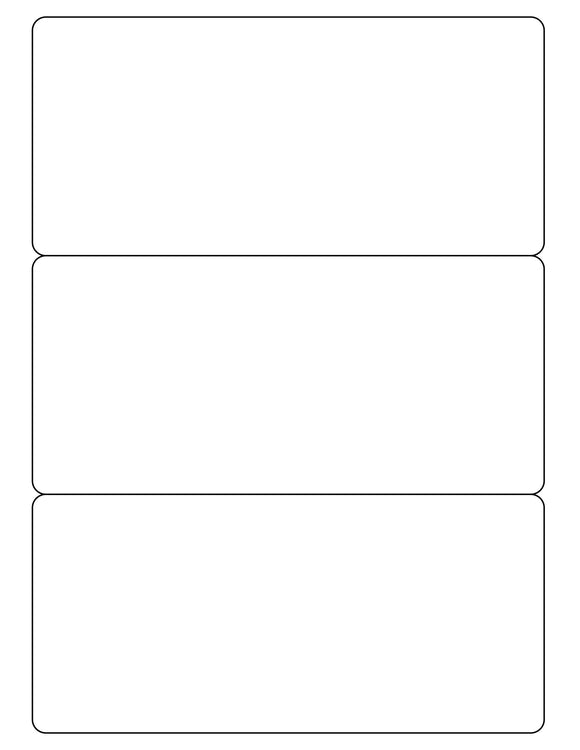 7 1/2 x 3 1/2 Rectangle White Label Sheet