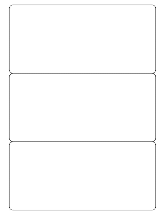 7 1/2 x 3 1/2 Rectangle Removable White Printed Label Sheet