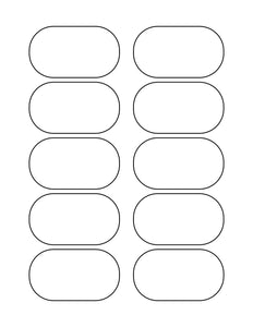 3 x 1 3/4 Oval White Label Sheet