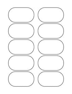3 x 1 3/4 Oval White Printed Label Sheet