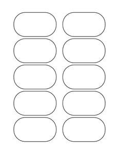 3 x 1 3/4 Oval Removable White Printed Label Sheet