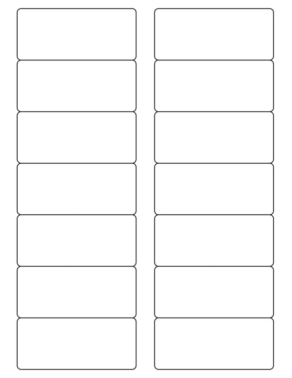 3 1/2 x 1 1/2 Rectangle White Label Sheet