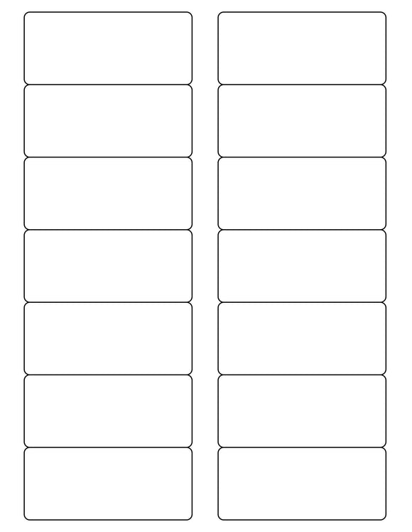 3 1/2 x 1 1/2 Rectangle Removable White Printed Label Sheet