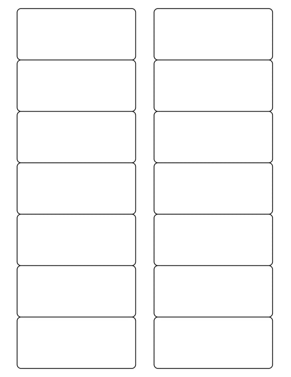 3 1/2 x 1 1/2 Rectangle White Printed Label Sheet