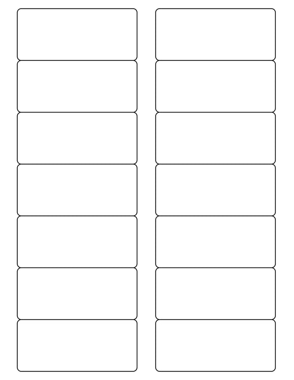 3 1/2 x 1 1/2 Rectangle White High Gloss Printed Label Sheet