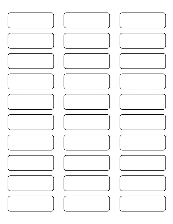 2 1/4 x 3/4 Rectangle White Label Sheet