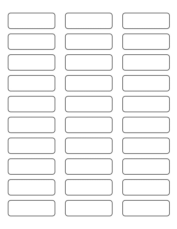 2 1/4 x 3/4 Rectangle White Printed Label Sheet
