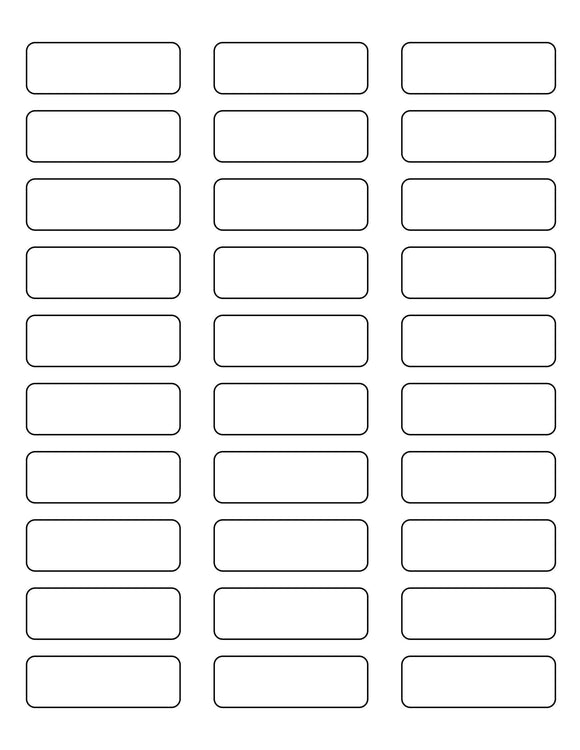 2 1/4 x 3/4 Rectangle Clear Gloss Printed Label Sheet