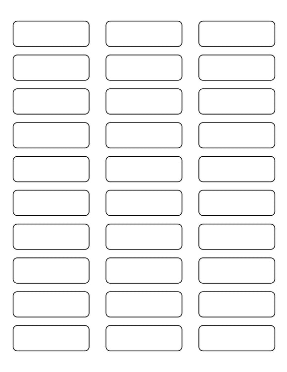 2 1/4 x 3/4 Rectangle Removable White Printed Label Sheet