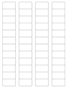 1 5/8 x 7/8 Rectangle White Printed Label Sheet
