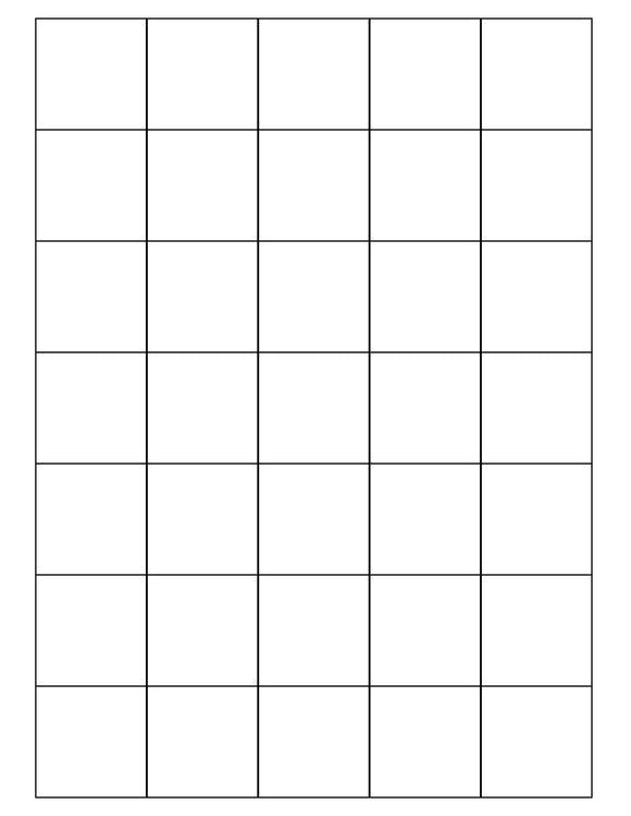 1 1/2 x 1 1/2 Square White Printed Label Sheet