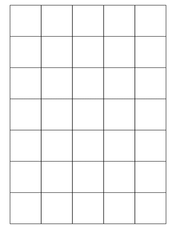 1 1/2 x 1 1/2 Square Removable White Printed Label Sheet