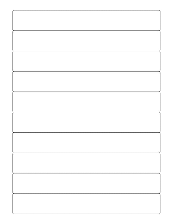 7 1/4 x 1 Rectangle White Printed Label Sheet