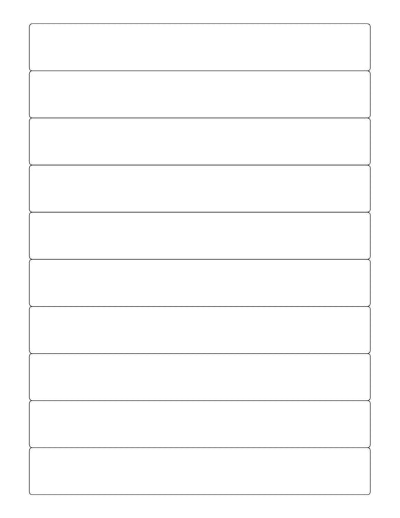 7 1/4 x 1 Rectangle Natural Ivory Printed Label Sheet