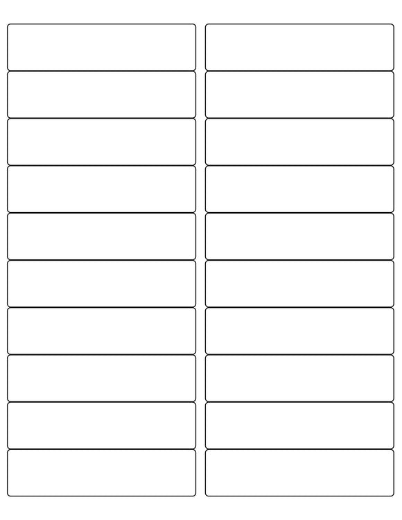 4 x 1 Rectangle Removable White Label Sheet (Rounded Corners)