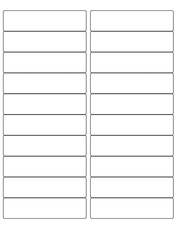 4 x 1 Rectangle White Label Sheet (Rounded Corners)