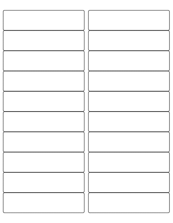 4 x 1 Rectangle Removable White Printed Label Sheet (Rounded Corners)