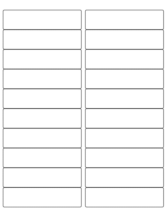 4 x 1 Rectangle White Opaque BLOCKOUT Printed Label Sheet (Rounded Corners)