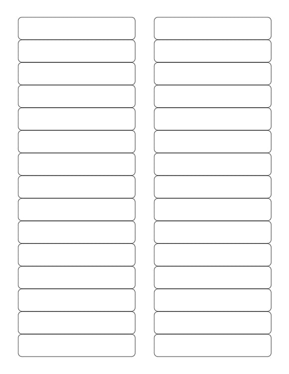 3 7/16 x 2/3 Rectangle White Printed Label Sheet