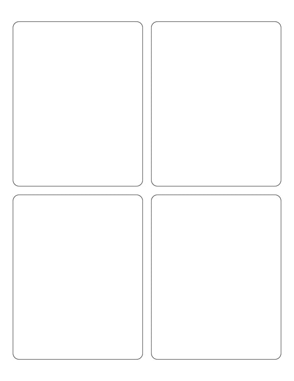 3 3/4 x 4 3/4 Rectangle White High Gloss Printed Label Sheet