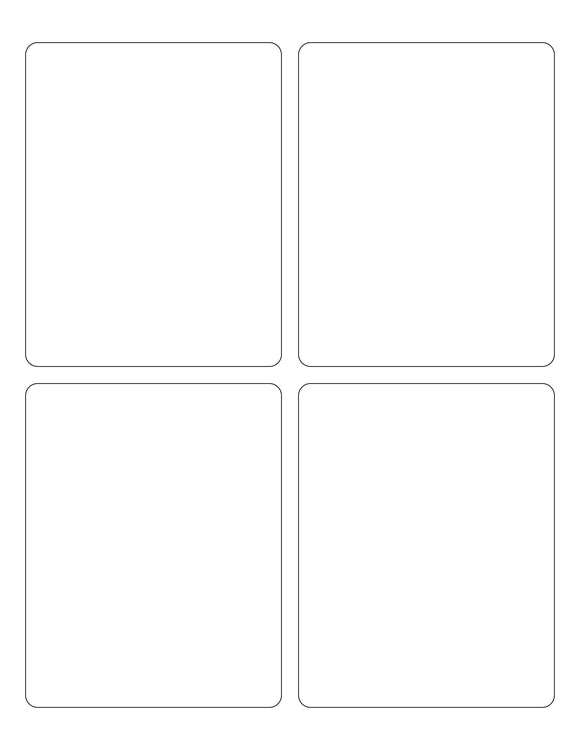3 3/4 x 4 3/4 Rectangle White Label Sheet