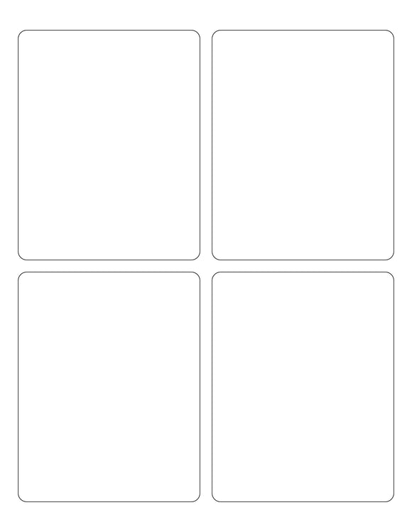 3 3/4 x 4 3/4 Rectangle White Printed Label Sheet