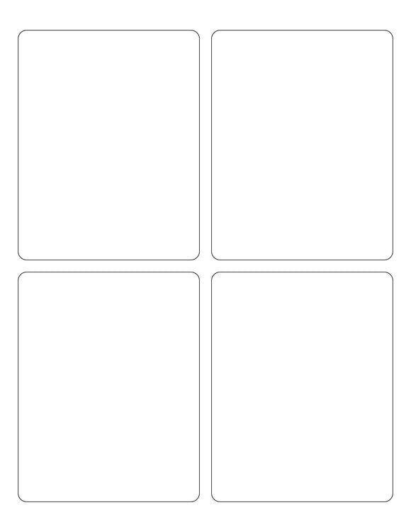 3 3/4 x 4 3/4 Rectangle Removable White Printed Label Sheet