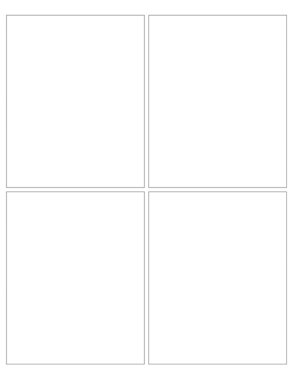 4 x 5 Rectangle White Opaque BLOCKOUT Printed Label Sheet (Square Corners)