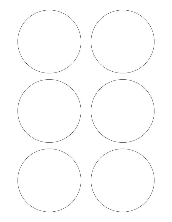 3 1/8 Diameter Round PREMIUM Water-Resistant White Inkjet Label Sheets (Pack of 250)