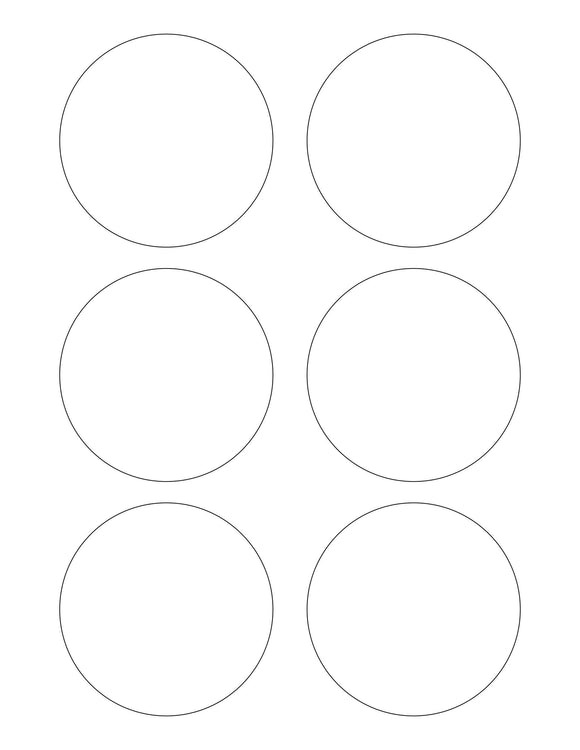 3 1/8 Diameter Round White Opaque BLOCKOUT Printed Label Sheet