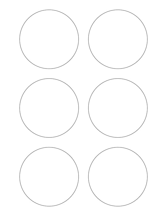 3 Diameter Round White Label Sheet
