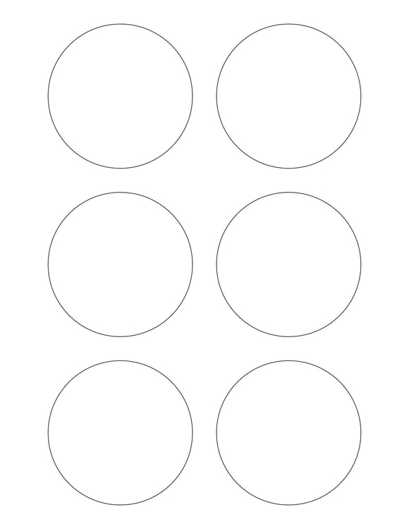3 Diameter Round White Opaque BLOCKOUT Printed Label Sheet