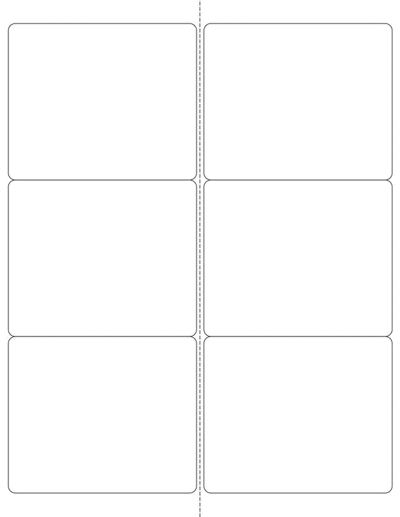4 x 3 1/3 Rectangle Removable White Printed Label Sheet (Rounded Corners w/ Perfs)