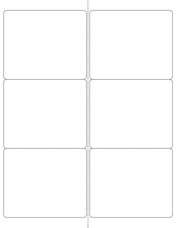 4 x 3 1/3 Rectangle Fluorescent RED Label Sheet (Bulk Pack 500 Sheets) (Rounded Corners w/ Perfs)