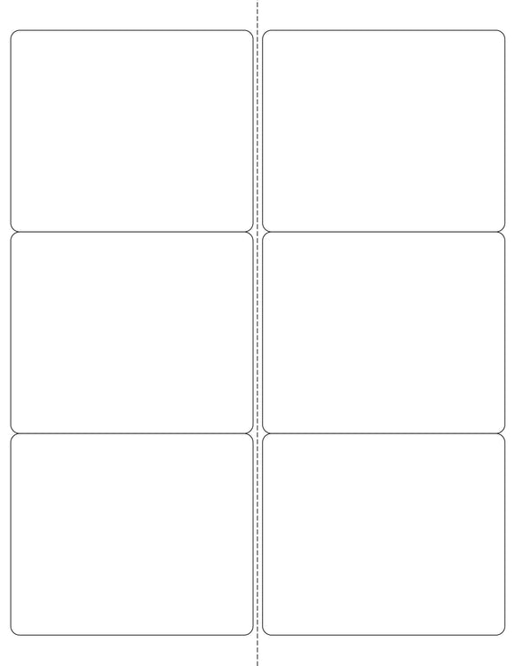 4 x 3 1/3 Rectangle White Printed Label Sheet (Rounded Corners w/ Perfs)