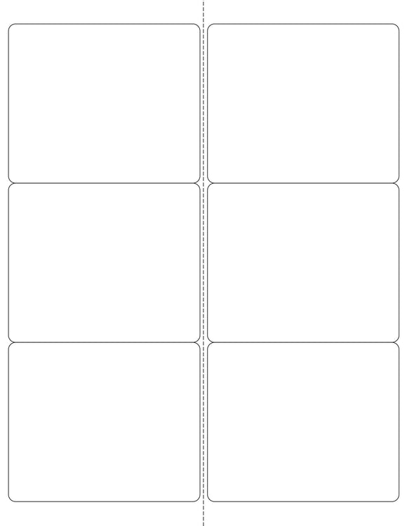4 x 3 1/3 Rectangle White Water-resistant Polyester Printed Label Sheet (Rounded Corners w/ Perfs)