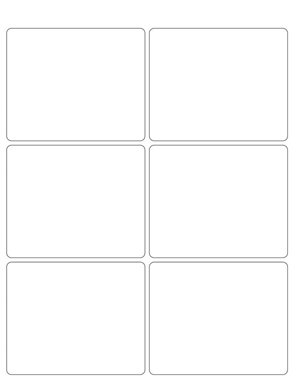 4 x 3 1/4 Rectangle White Label Sheet