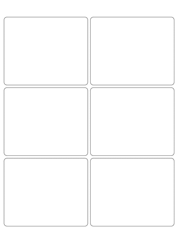 4 x 3 1/4 Rectangle White High Gloss Printed Label Sheet