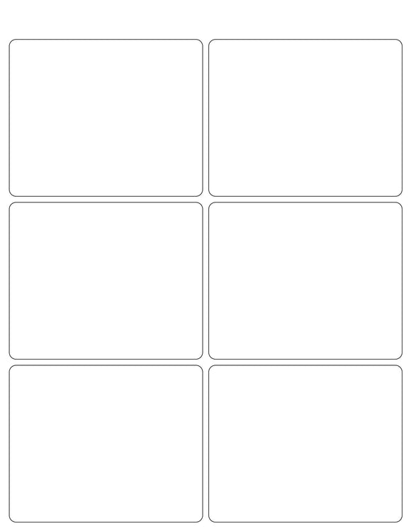 4 x 3 1/4 Rectangle Removable White Printed Label Sheet