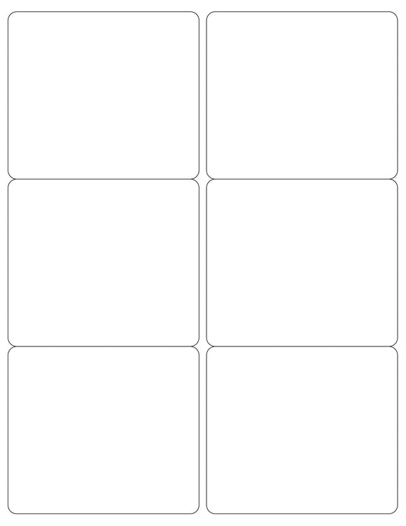 4 x 3 1/2 Rectangle Removable White Printed Label Sheet