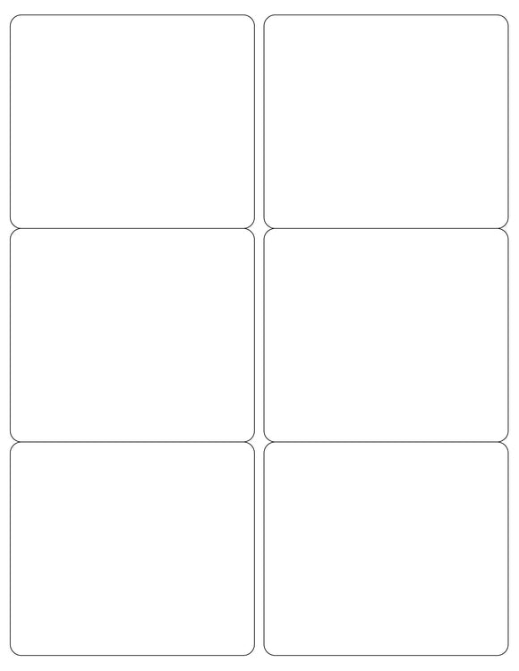 4 x 3 1/2 Rectangle White Label Sheet