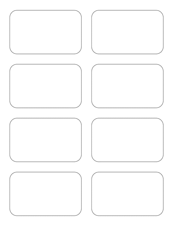 3 1/2 x 2 1/8 Rectangle White High Gloss Printed Label Sheet