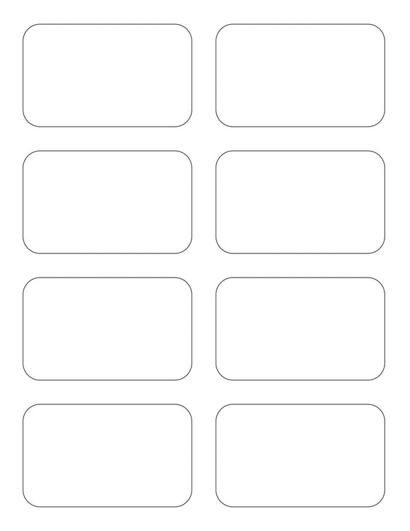 3 1/2 x 2 1/8 Rectangle White Printed Label Sheet
