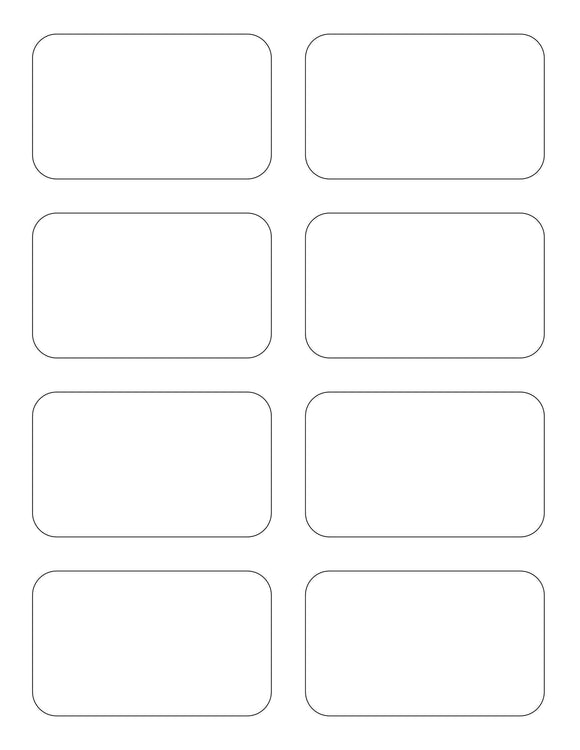 3 1/2 x 2 1/8 Rectangle Removable White Printed Label Sheet