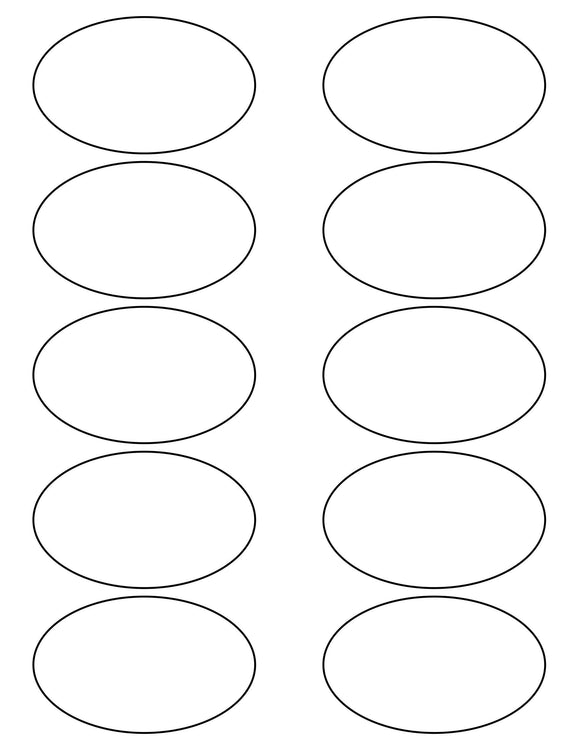 3 1/4 x 2 Oval White High Gloss Printed Label Sheet