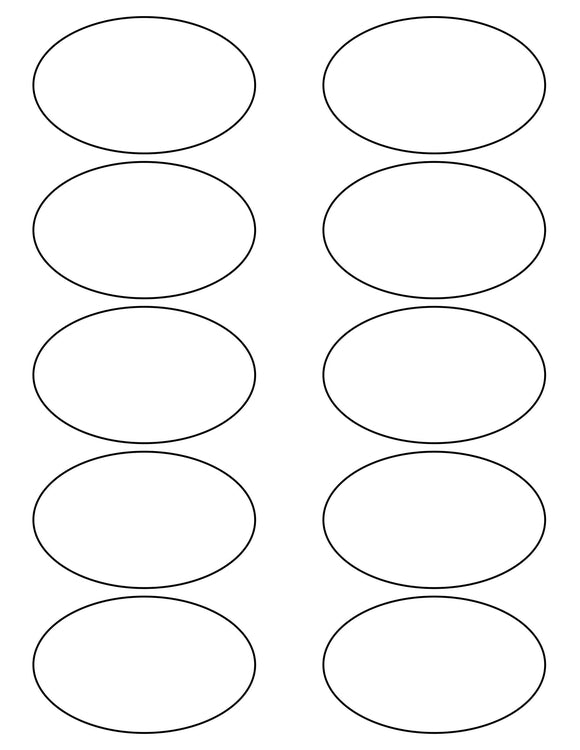 3 1/4 x 2 Oval White Label Sheet