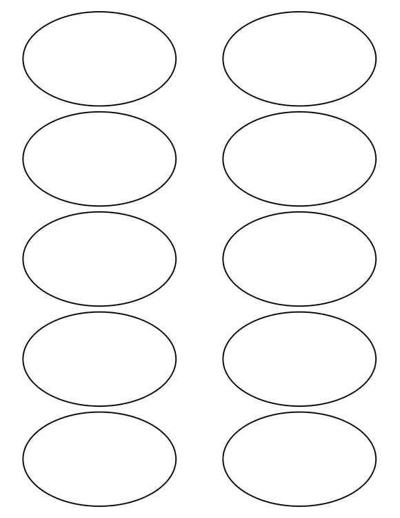 3 1/4 x 2 Oval White Printed Label Sheet