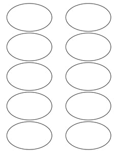 3 1/4 x 2 Oval Removable White Printed Label Sheet